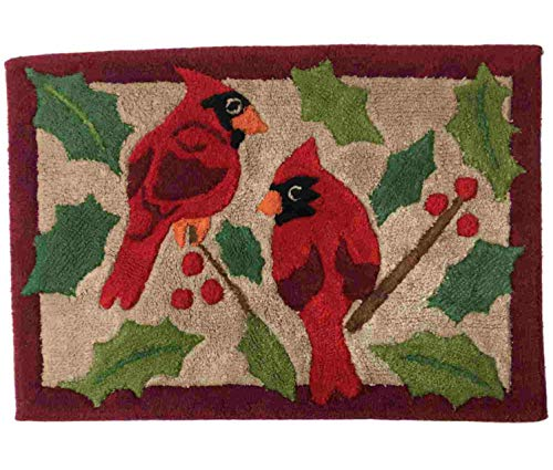 Christmas Cardinal & Holly Throw Rug Red 20x30 Bath Mat ()