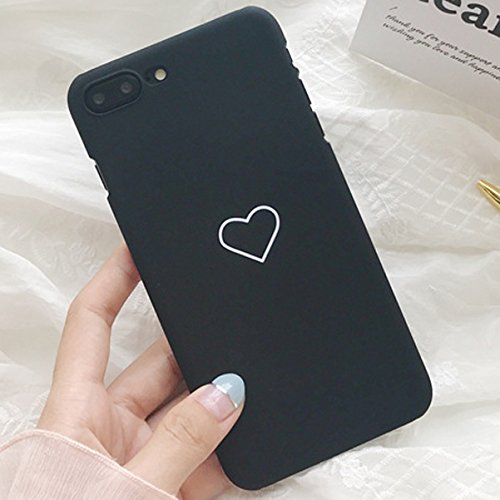 Luxury Slim Cute Heart Shockproof PC Phone Case Back Cover for Apple iPhone (Black, iPhone 8 7 Plus - Heart Cute A