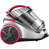 Deik Cylinder Vacuum Cleaner, Bagless Vacuum Cleaner (18Kpa Powerful Suction, 800W, 4 Stage Filtration System, 7.5M Working Radius) Grey & Pink