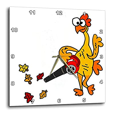 3dRose All Smiles Art - Funny - Cute Funny Unique Rubber Chicken Using Leaf Blower - Wall Clocks