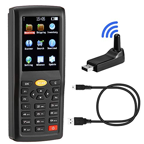 Barcode Scanner Wireless 1D MUNBYN Handheld Data Collector Inventory Scanner with USB and 433MHZ Wireless Connection and TFT Color LCD Screen Portable Bar Code Reader