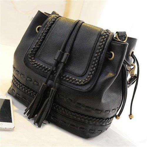 PATTONJIOE Women's Bohemian Tassel Bucket Bag Faux Leather Shoulder Bag Black