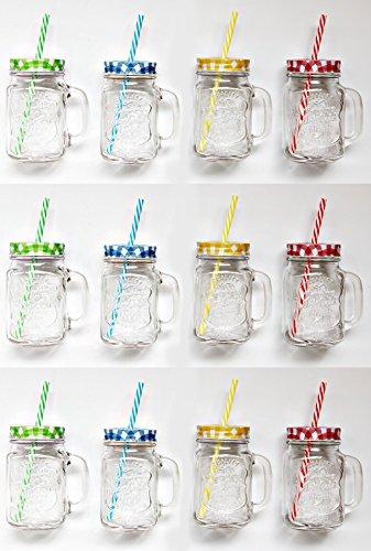 12er Set Vintage Trinkglas mit Karo Deckel und Strohhalm + Trennkost TT