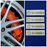 R&G Brembo Brake Caliper HIGH TEMP Decal Sticker Set of 4 (Silver)