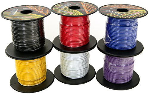 GS Power's 18 Gauge Ga, 6 Rolls of 100 Feet (Total of 600 ft) Car Audio Video Primary Remote Turn on Hook up Trailer Wire (Cable Color Set: Red, Black, Blue, Yellow, White, Purple)