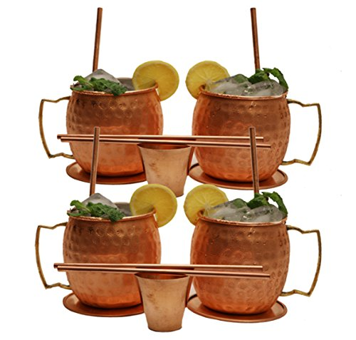 Moscow Mule Copper Mugs - Set of 4-100% HANDCRAFTED - Food Safe Pure Solid Copper Mugs - 16 oz Gift Set with BONUS: Highest Quality Cocktail Copper Straws and 2 SHOT GLASS and 4 coaster by syon
