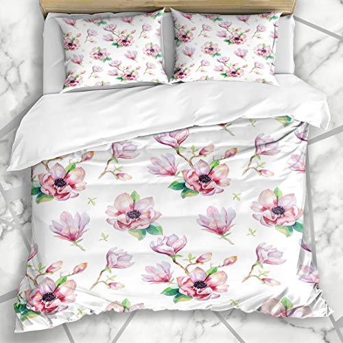 Ahawoso Duvet Cover Sets King 90x104 Blooming Bloom Watercolor Magnolia Flowers Leaves Biennial Nature Blossom Drawing Floral Garden Microfiber Bedding with 2 Pillow Shams
