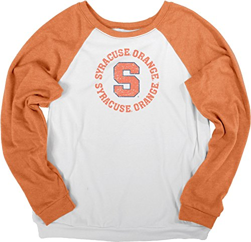 (NCAA Syracuse Orange Women's Cozy Fleece Crew Shirt, Medium, White/Orange)