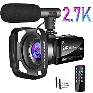 Video Camera 2.7K Camcorder Ultra HD 30MP Vlogging Camera for YouTube IR Night Vision 3 inch 16X Digital Zoom Touch Screen Camcorder with Microphone Remote Control Lens Hood and 2 Batteries