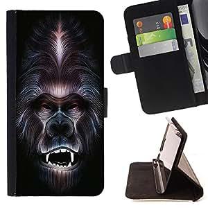 King Art - Premium-PU-Leder-Prima caja de la PU billetera de cuero con ranuras para tarjetas, efectivo Compartimiento desmontable y correa para la mu?eca FOR Samsung GALAXY G850 SM-G850F G850Y G850M- Gorilla Funny Pattern