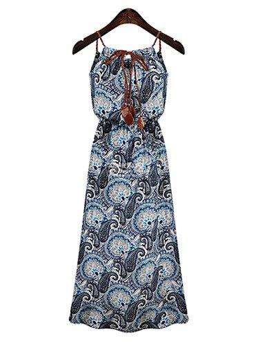 PU&PU Robe Aux femmes Gaine Vintage / Mignon,Imprimé A Bretelles Midi Coton / Polyester , blue-xl , blue-xl