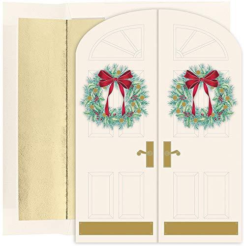 JAM PAPER Christmas Cards & Matching Envelopes Set -Holiday Doorway Wreaths - 16/Pack