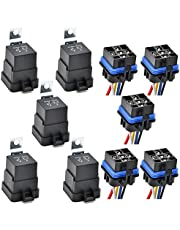 5 Pack 12V DC 40/30AMP Waterproof Relay and Harness Set - IRGEKSIW 5-PIN SPDT Bosch Style Automotive Relay with Heavy Duty 12AWG Tinned Copper Wires Compatible with Mercury Outboard Motor Replaces 828151, 3854138, 828151A1
