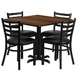Dyersburg 5pcs Table Set Square 36'' Walnut Laminate X-Base, Black Metal Chairs