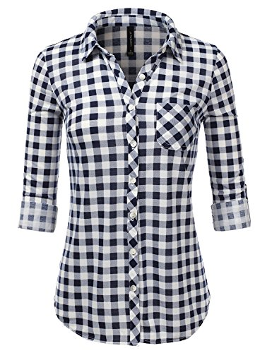 JJ Perfection Womens Long Sleeve Collared Button Down Plaid Flannel Shirt WHITENAVY M ()