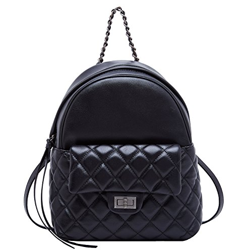 BOYATU Genuine Leather Backpack Purse for Women School Bag Mini Travel Rucksack (Black-02)