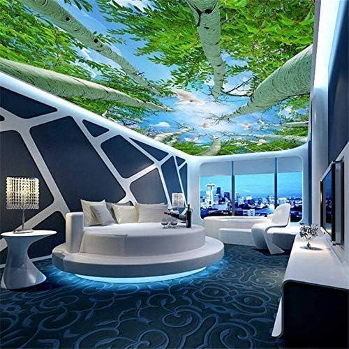 Zxyan マット ラグマット 3D壁画ウォールアート、カスタムの壁紙は、ステレオ壁画スーパーグリーンの森スカイ天井ゼニス壁画がリビングルームホテルの壁紙3D壁画、140X70.5CMを3dの3dは 防ダニ 抗菌 防臭 洗える