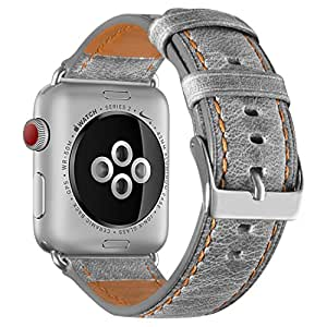 Fashion casual retro hand leather belt Apple watch with 42MM Apple watch series 3/2/1 (gray + transparent case) (gray, 42 mm)
