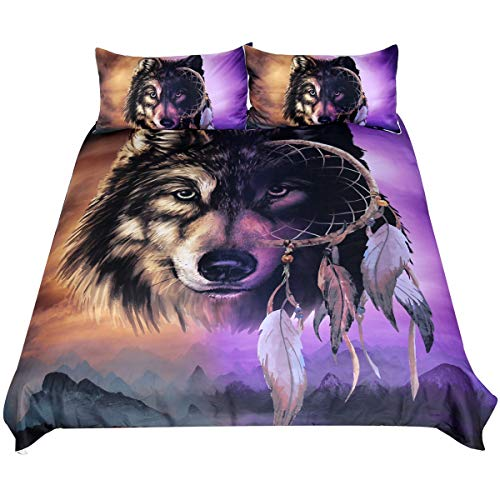 Sleepwish Wolf Dream Catcher Bedding, Tribal Wolf Midnight Mountains Print, Native American Inspired Gold and Purple Duvet Cover, 3 Piece (Queen)