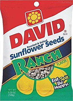 David, Sunflower Seeds, Roasted & Salted, Ranch, 5.25oz Bag (Pack of 2)