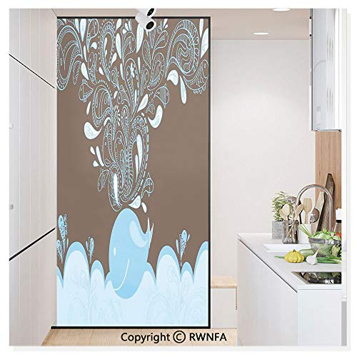 Non-Adhesive Privacy Window Film Door Sticker Baloon Like Whale in The Ocean with Bubbles Cartoon Batik Tribal Style Image Glass Film 23.6 in. by 78.7in. (60cm by 200cm),Blue and Brown ()