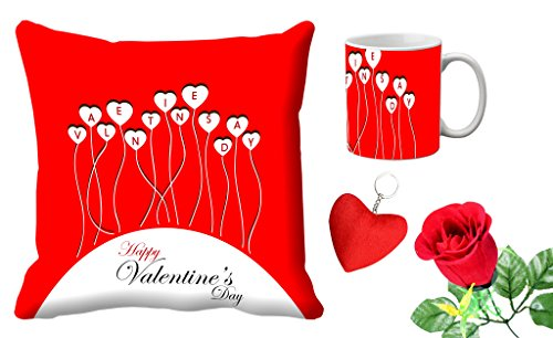 meSleep Red Happy Valentine's day Digital Printed Cushion (With Filler) & Mug Withfree