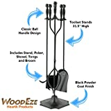 WoodEze-FTKB03015TA-Fireplace-Tool-Set-5-Piece-With-Ball-Handles-Includes-Firewood-Poker-Shovel-Brush-Tongs-and-Stand-in-Modern-Black-Finish