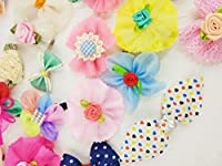 Hixixi 30pcs Pet Cat Dog Hair Clips Beautiful Flowers Hair Bows Bow Tie Puppy Hair Accessories