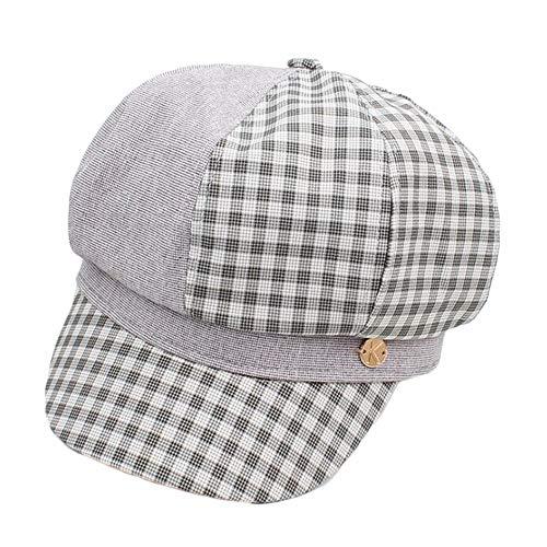 TWO-G Ladies Colour Matching Lattice Octagonal Hat Retro Barbarian Painter Hat Travel Beret Beret Hat