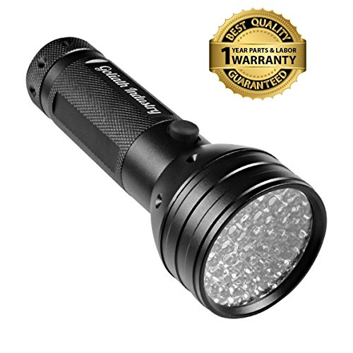 Goliath Industry UV Handheld Black Light Flashlight – For Home & Hotel Inspection, Pet Urine & Stain Detection – Spots Counterfeit Money, Dangerous Leaks – Ideal For Scorpion Hunting