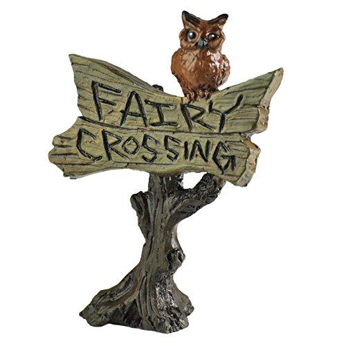 Georgetown Home amp Garden Miniature Owl Sign Fairy Crossing Garden Decor