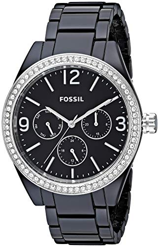 Fossil Women's ' Caleigh Quartz Resin Watch, Color:Black (Model: ()