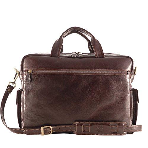 Maxwell Scott® Personalizada Lujo Italiano de Piel para hombre negocio Bolsos (lagaro) Dark Chocolate Brown