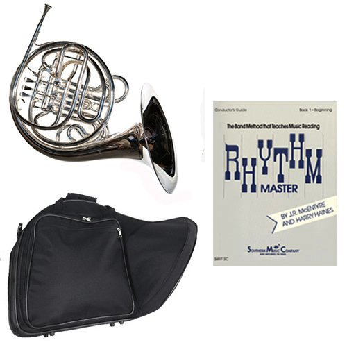 Band Directors Choice Silver Plated Double French Horn Key of F/Bb - Rhythm Master Pack; Includes Intermediate French Horn, Case, Accessories & Rhythm Master Book by Double French Horn Packs