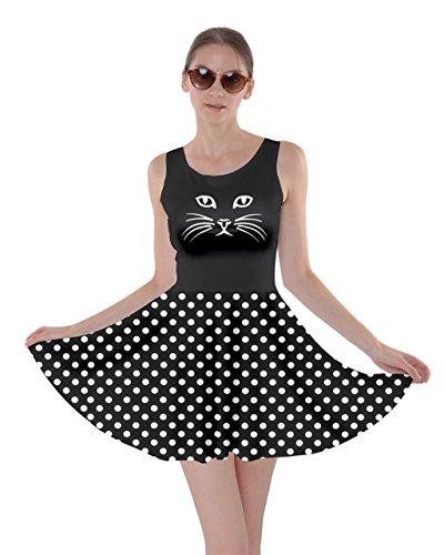 CowCow Womens Black Cat Dot Skater Dress, Black - S]()