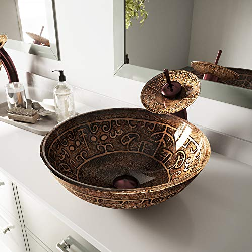 Greek Glass - VIGO Golden Greek Glass Vessel Bathroom Sink and Waterfall Faucet with Pop Up, Oil Rubbed Bronze
