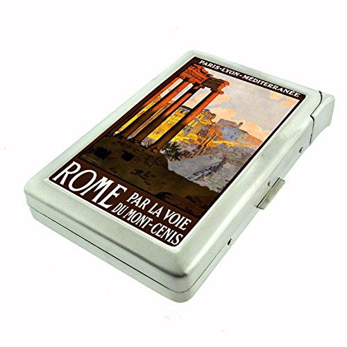 Perfection In Style Metal Cigarette Case with Built In Lighter Vintage Travel Posters Design 016
