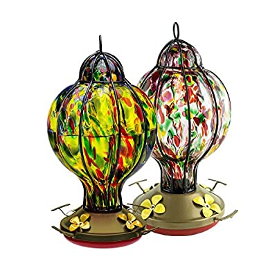 HUMMINGBIRD FEEDER with Perch --- Hand-Blown Glass Feeders | Treat | (by Best Home Products)