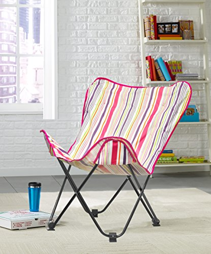 Urban Shop Cabana Stripes Butterfly Chair, Magenta, One Size