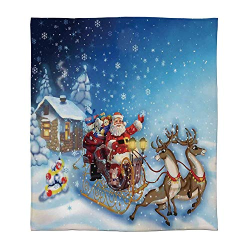 ALUONI Warm Flannel Blanket,Christmas Decorations,for Folding Bed Crib, Stroller, Travel, Couch and Bed,Size Throw/Twin/Queen/King,Santa in Sleigh with Reindeer and Toys