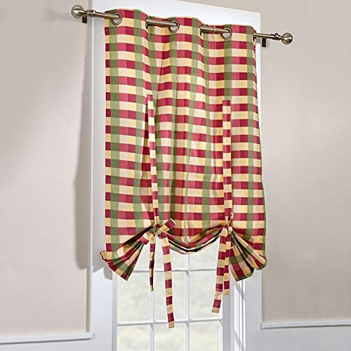 Thermalogic Perfect Plaid Insulated Tie Up Curtain with Grommets, by Commonwealth Home Fashions (Rose)