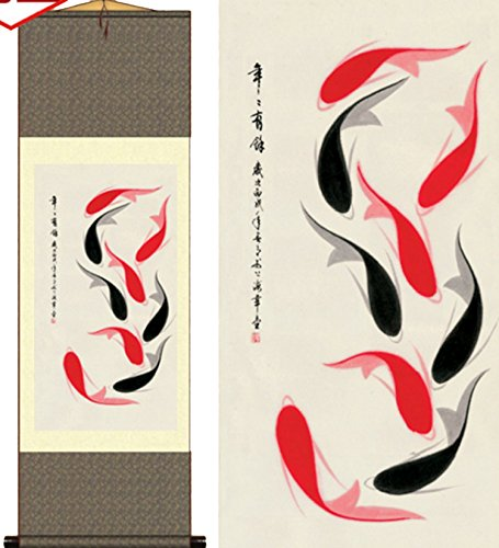 Grace Art Asian Wall Scroll, Fish