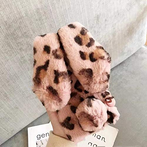 Twinlight Leopard Fluffy Rabbit Ears Fur Ball Stand Cover for iPhone Xs Max Case Luxury Bling Cover for iPhone XR X 7 8 Plus XS Case (Pink, for iPhone XR) (Iphone 4s Mickey Mouse Case)