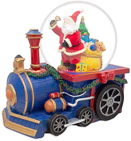 BestPysanky Santa Delivering by Train Musical Snow Globe