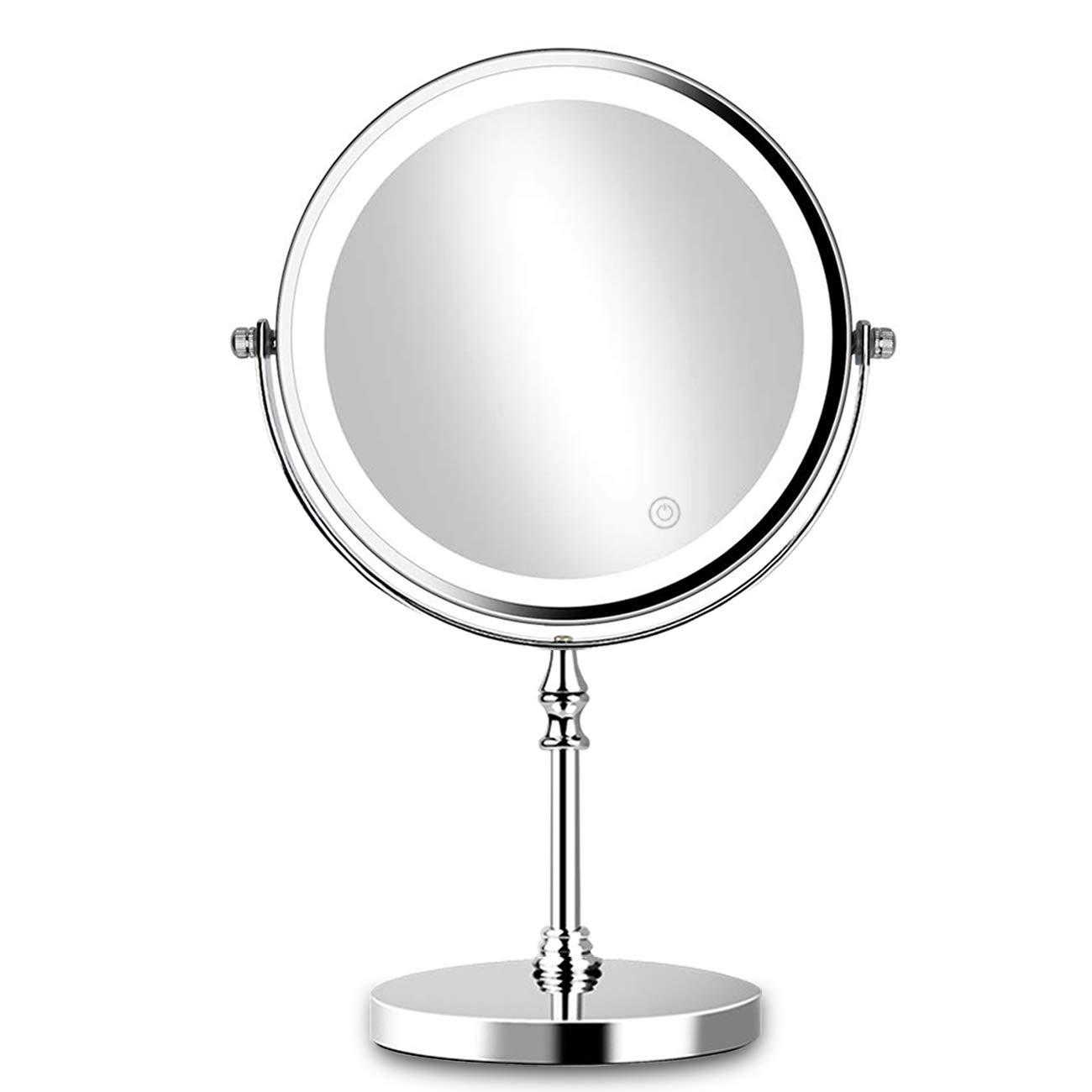 8in Lighted Makeup Mirror 10x Magnification Makeup Mirror with Lights Double Sided Round Mirror with 27pcs LED,Powered by 4xAAA Batteries (Not Included)