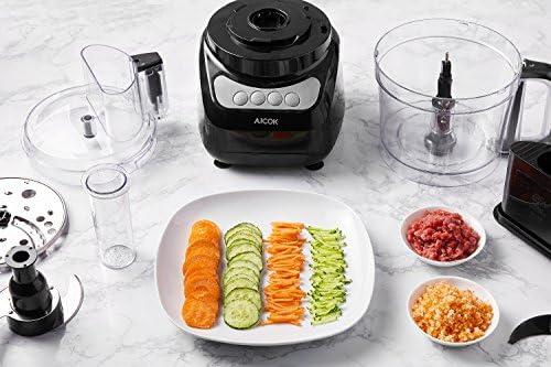 Procesador de Alimentos, AICOK 900W 2.4L Robot de Cocina, Cortador de Verdura Electrico, 3 Modos de Velocidad, 2 Cuchillas Una para Cortar la Carne y Otra para Hacer Masa, Color Negro: Amazon.es: