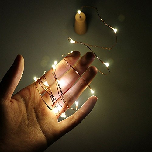 2m 20-LED Copper Wire String Light with Bottle Stopper for Glass Craft Bottle Fairy Valentines Wedding Decoration Lamp Party -
