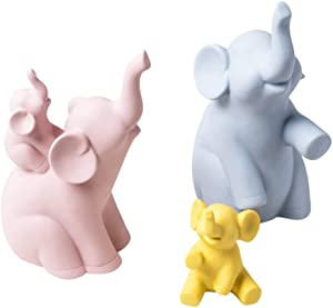 Ceramics Elephant Statue Family of Four, Ideal for Home Decor, Animal Sculpture Collections for Elephant Lovers (Four Elephant)