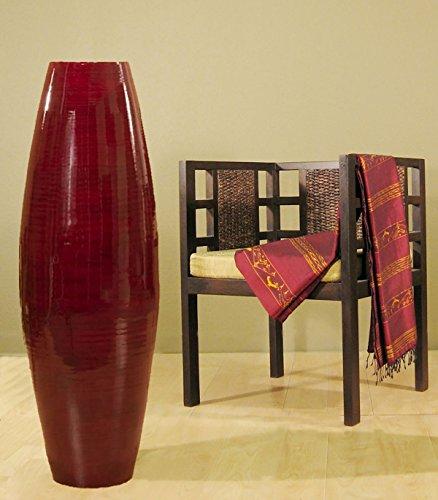 (Green Floral Crafts 47 in. Bamboo Cylinder Floor Vase & Natural Branches - Red Vase)