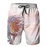 Africa Lion Colorful Paint Men's swim Trunks Quick Dry Board Shorts With Pockets And Drawstring For Surfing Running Swimming